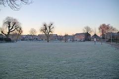 Field of grass became white of ice during night frost in Nieuwerkerk aan den IJssel in the Netherlands.  stock photo