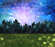 Field of grass city. Field of grass and city Royalty Free Stock Photos