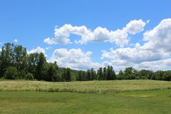 Field of grass, forest, hills and sky. Beautiful summer day in Ithaca, NY. Rural landscape in the summer stock images