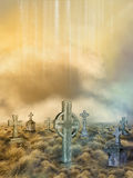 Field with graves. Fantasy field with graves in a sunset Royalty Free Stock Image