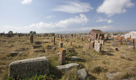 Field of gravestones in Armenia Royalty Free Stock Images