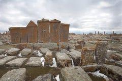 Field of gravestones in Armenia. In Asia stock photo