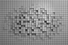 Field of gray 3d cubes. 3d render image Royalty Free Stock Image