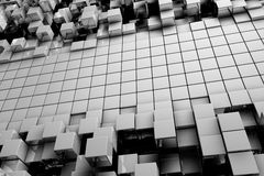 Field of gray 3d cubes Stock Photos