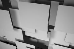 Field of gray square plates. 3d render image Royalty Free Stock Photos