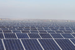 Field of Green Energy Photovoltaic Solar Panels. A field of photovoltaic solar panels providing alternative green energy Stock Image