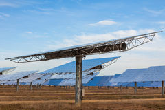 A Field of Green Energy Photovoltaic Solar Panels Stock Photo
