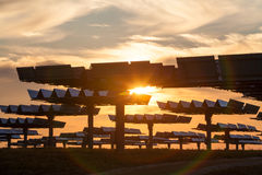Field of Green Energy Photovoltaic Solar Panels Sunset or Sunris Stock Photo