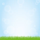 Field of green grass and blue sky background illustration. Green grass nature field and sunny blue sky background illustration Stock Photography
