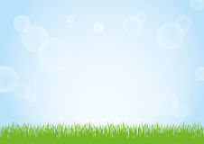 Field of green grass and blue sky background illustration. Green grass nature field and sunny blue sky background illustration Stock Image