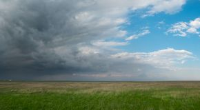 Field with green grass under a bright blue sky with large dark storm clouds. In a wide format Stock Image