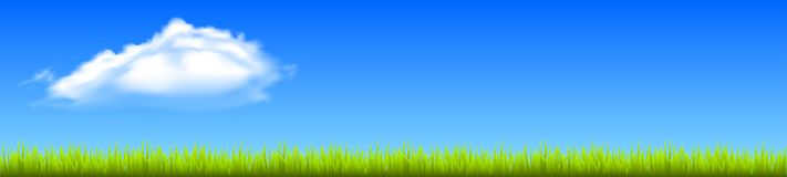 Field, green grass with white cloud. Vector Stock Photo