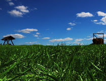 Field of green grass with wooden seesaw and stack of hay Royalty Free Stock Photography