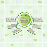 Field of green squares and green info element. Info graphic element on green background with symbols Stock Photography