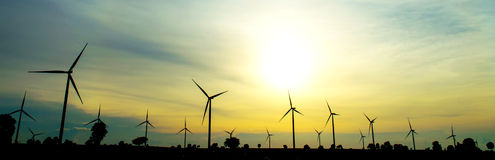 field green turbines wind Royaltyfri Fotografi