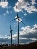 field green turbines wind Arkivfoton