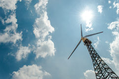 field green turbines wind Arkivfoto