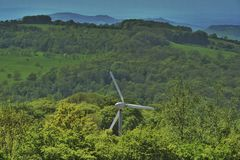 field green turbines wind Royaltyfri Foto