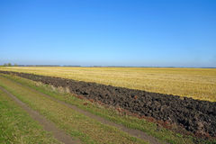 Field after harvest. And the band plowed black earth Royalty Free Stock Photos