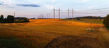 Field after harvest. Rural landscape at sunset. Field after harvest. Panoramic shot Stock Images