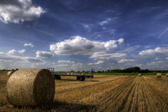Field and hay stacks. Haystacks in an English field with defined clouds Stock Photo