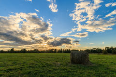 Field with haystacks at sunset in early autumn Royalty Free Stock Photo
