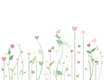 Field of hearts. Floral  with hearts on white background with copy space Royalty Free Stock Photos
