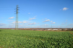 Field of the high-voltage line Royalty Free Stock Images