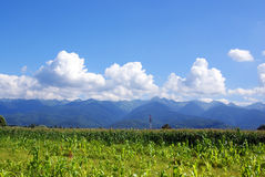 Field, hills mountains, clouds and blue sky royalty free stock photography