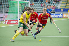 Field Hockey action AUS vs ESP Stock Images