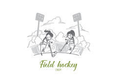 Field hockey concept. Hand drawn isolated vector Royalty Free Stock Photo