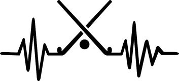 Field hockey heartbeat line german. Heartbeat pulse line with two crossed hockey sticks, a ball and german word Royalty Free Stock Image