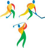 Field Hockey Ice Hockey Golf Icon. Icon illustration showing athlete playing the sport of field hockey, ice hockey and golf Royalty Free Stock Photo