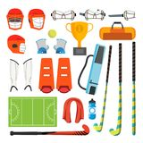 Field Hockey Icons Set Vector. Field Hockey Accessories. Ball, Helmet, Protection, Stick, Cup. Isolated Flat Cartoon. Field Hockey Icons Set Vector. Field Hockey Stock Image
