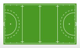 Field hockey markup. Outline of lines on field hockey. Green field hockey. Vector illustration Royalty Free Stock Photo