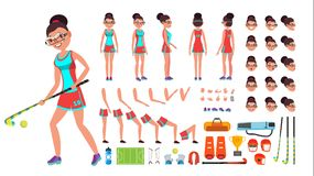Field Hockey Player Female Vector. Animated Character Creation Set. Full Length, Front, Side, Back View, Accessories. Poses, Face Emotions, Gestures. Isolated Stock Image