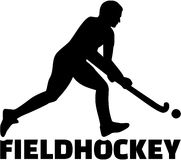 Field Hockey player. Silhouette with sports titel Royalty Free Stock Photography
