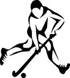 Field hockey. Player - stylized black and white illustration Stock Photo