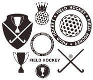 Field Hockey. Set. Isolated objects on white background. Vector illustration (EPS 10 Stock Image