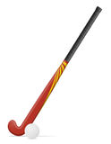 Field hockey stick and ball vector illustration Stock Photos