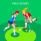 Olympics and ParalympiField Hockey  Summer Games 3D Isometric Vector Illustration. Olympics and Paralympics Game Rio Brasil 2016 Field Hockey Girl Player  Summer Royalty Free Stock Photos
