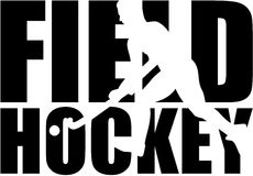 Field Hockey word with player cutout Royalty Free Stock Photography