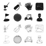 Field with a hole and a flag, a golf ball, a golfer, an electric golf cart.Golf club set collection icons in black. Outline style vector symbol stock Stock Image