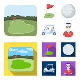 Field with a hole and a flag, a golf ball, a golfer, an electric golf cart.Golf club set collection icons in cartoon. Flat style vector symbol stock Stock Photo