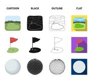 Field with a hole and a flag, a golf ball, a golfer, an electric golf cart.Golf club set collection icons in cartoon. Black,outline,flat style vector symbol Stock Images