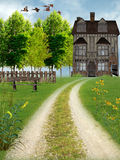 The field house. Walk toward the surrounded house of wild flowers Royalty Free Stock Photos