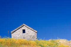 Field House. Spring landscape. House, flowers and blue sky royalty free stock images
