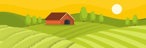Field and house banner, flat style. Field and house banner. Flat illustration of field and house vector banner for web Stock Photography