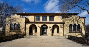 Field House. This is a Winter picture of Athletic Field Park located in the Wrigleyville Neighborhood of Chicago, Illinois.  The field house was built in 1926 Royalty Free Stock Photo