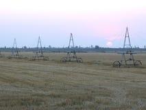 Field irrigated by a pivot sprinkler system. stock photo